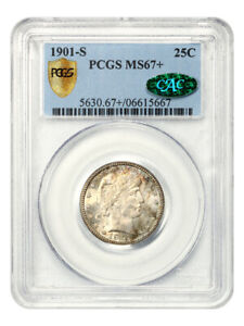 Click now to see the BUY IT NOW Price! 1901 S 25C PCGS/CAC MS67    FAMOUS KEY DATE   BARBER QUARTER   FAMOUS KEY DATE