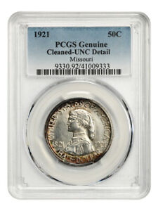 1921 MISSOURI 50C PCGS UNC DETAILS  CLEANED   ISSUE    ISSUE