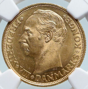 Click now to see the BUY IT NOW Price! 1910 DENMARK KING FREDERIK VIII CROWN ANTIQUE OLD GOLD 20 KRONER COIN NGC I89593