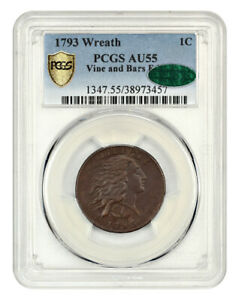 1793 WREATH 1C PCGS/CAC AU55  VINE/BARS  CHOICE HIGH GRADE WREATH CENT