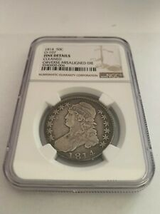 1  1814 50C O 107 CAPPED BUST HALF DOLLAR   MINT ERROR MISALIGNED DIE NGC FINE