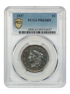Click now to see the BUY IT NOW Price! 1837 1C PCGS PROOF 63 BN    PROOF LARGE CENT