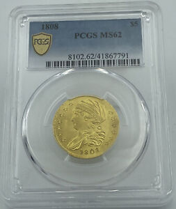 1808 PCGS MS62 CAPPED BUST $5 GOLD HALF EAGLE