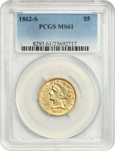 Click now to see the BUY IT NOW Price! 1862 S $5 PCGS MS61   TOUGH CIVIL WAR S MINT   LIBERTY HALF EAGLE   GOLD COIN