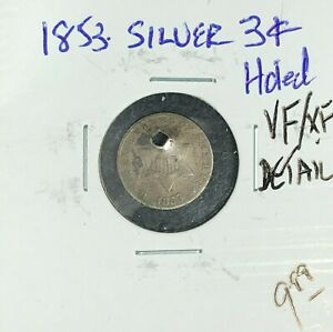 1853 THREE CENT NICKEL   VF/XF DETAIL   HOLED  NICE COIN  REF D/D