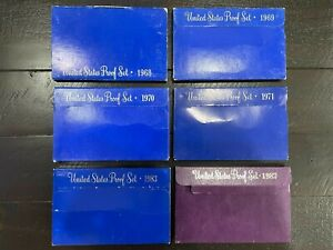 SIX EMPTY PACKAGING REPLACEMENT PROOF SET BOXES NO COINS 68 69 70 71 83 87