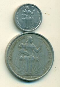 2 OLDER COINS FROM NEW CALEDONIA   1949 50 CENTIME & 1952 5 FRANC