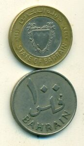 2 DIFFERENT 100 FILS COINS FROM BAHRAIN   1965 & 1997  2 TYPES/2009 IS BI METAL