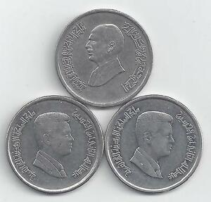 3 DIFFERENT 10 PIASTRE COINS FROM JORDAN  1993 2000 & 2004