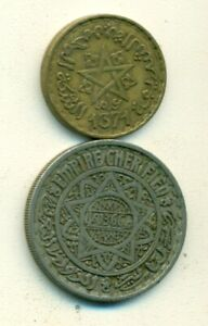 2 OLDER 10 FRANC COINS FROM MOROCCO DATING 1946 & 1952  2 DIFFERENT TYPES