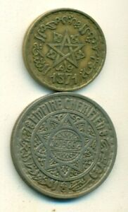 2 OLDER 20 FRANC COINS FROM MOROCCO DATING 1946 & 1952  2 DIFFERENT TYPES