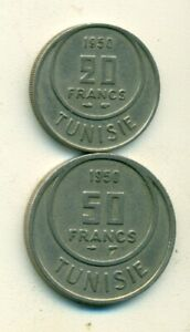 2 OLDER COINS FROM TUNISIA   20 & 50 FRANCS  BOTH DATING 1950