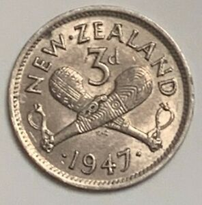 1947 NEW ZEALAND 3 PENCE KM 7A CIRCULATED CONDITION