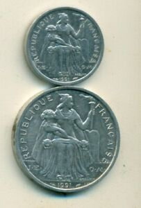 2 DIFFERENT COINS FROM FRENCH POLYNESIA   1 & 5 FRANCS  BOTH DATING 1991