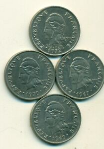 4 DIFFERENT 20 FRANC COINS FROM FRENCH POLYNESIA  1967 1969 1970 & 1972