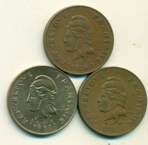 3 HIGH DENOMINATION 100 FRANC COINS FROM FRENCH POLYNESIA  1976 1982 & 1998