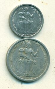 2 OLDER COINS FROM NEW CALEDONIA   50 CENTIMES & 1 FRANC  BOTH DATING 1949