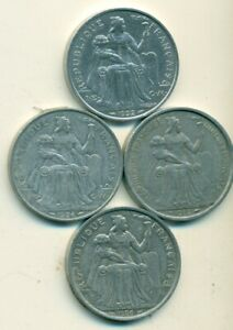 4 DIFFERENT 5 FRANC COINS FROM NEW CALEDONIA  1952 1986 1992 & 1994