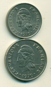 2 DIFFERENT COINS FROM NEW CALEDONIA   10 & 20 FRANCS  BOTH DATING 1970