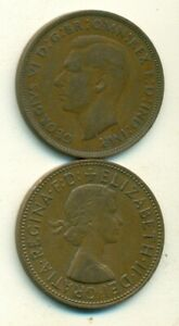 2 LARGE PENNY COINS FROM GREAT BRITAIN DATING 1938 & 1967  2 DIFFERENT TYPES