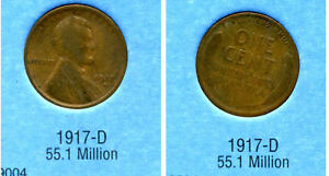 LINCOLN HEAD WHEAT CENT 1917 D AVERAGE CIRCULATED UNITED STATES PENNY COIN 1044