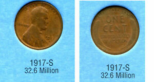 LINCOLN HEAD WHEAT CENT 1917 S AVERAGE CIRCULATED UNITED STATES PENNY COIN 3452