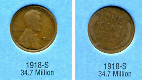 LINCOLN HEAD WHEAT CENT 1918 S AVERAGE CIRCULATED UNITED STATES PENNY COIN 758
