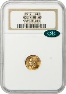 1917 MCKINLEY G$1 NGC/CAC MS63   CLASSIC COMMEMORATIVE   GOLD COIN