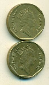 2 DIFFERENT 1 DOLLAR COINS FROM FIJI DATING 1995 & 1997
