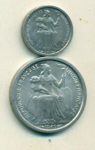 2 OLDER COINS FROM NEW CALEDONIA   50 CENTIMES & 2 FRANCS  BOTH DATING 1949