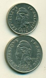 2 OLDER COINS FROM NEW CALEDONIA   10 & 20 FRANCS  BOTH DATING 1972