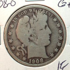 1908 O  GOOD    BARBER HALF DOLLAR  Y AND PART OF LIT