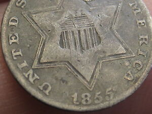 1855 THREE 3 CENT SILVER  KEY DATE RPD REPUNCHED DATE