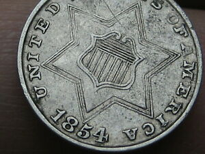 1854 THREE 3 CENT SILVER TRIME  XF DETAILS