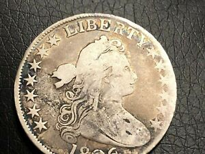 1806 DRAPED BUST HALF DOLLAR  6 OVER INVERTED 6 O 111A FINE/VF DETAILS