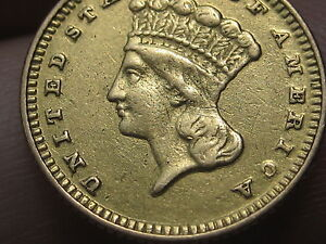 1870 $1 GOLD INDIAN PRINCESS ONE DOLLAR COIN  LY