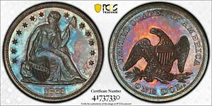 1863 PCGS PR64 SEATED LIBERTY DOLLAR $1 COLORFUL TONING