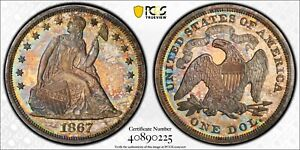 1867 PCGS & CAC PR64  SEATED LIBERTY DOLLAR