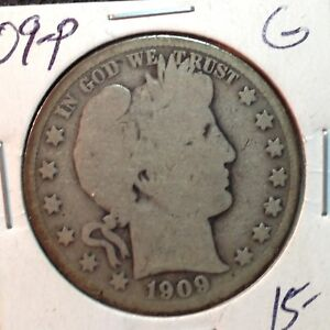 1909 P  GOOD   BARBER HALF DOLLAR  Y AND PART OF T   1