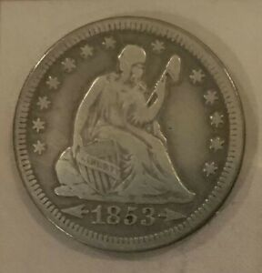 1853 SEATED LIBERTY QUARTER DOLLAR VARIETY 2 ARROWS AND RAYS LY FINE