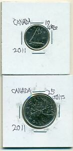 2 NICE COINS FROM CANADA   10 CENTS W/ SHIP AND 25 CENT W/ CARIBOU  BOTH 2011