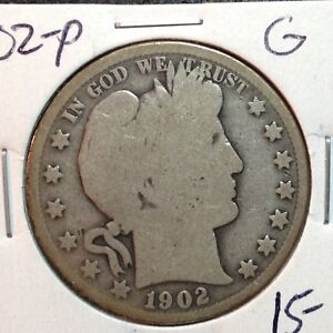 1902 P  GOOD    BARBER HALF DOLLAR   Y AND PART OF T