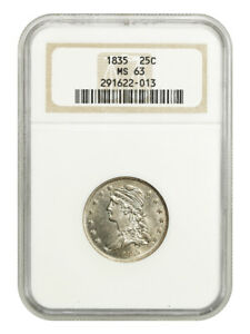 1835 25C NGC MS63   GREAT TYPE COIN   BUST QUARTER   GREAT TYPE COIN