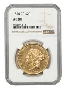 1874 CC $20 NGC AU58   FROSTY    LIBERTY DOUBLE EAGLE   GOLD COIN   FROSTY