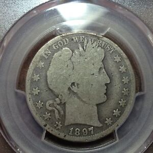 1897 O  PCGS  G 4   BARBER HALF DOLLAR  Y AND PART OF T  NICE COIN