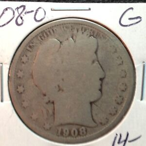 1908 O  GOOD   BARBER HALF DOLLAR  Y AND PART OF T