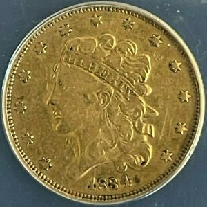 1834 $5 FIVE DOLLAR GOLD LIBERTY COIN   ANACS VF35 NO MOTTO PLAIN 4  HALF EAGLE