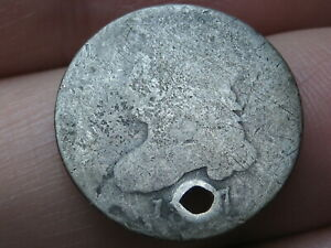 1827 CAPPED BUST SILVER DIME  HOLED