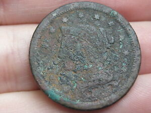 1843  1857 BRAIDED HAIR LARGE CENT PENNY METAL DETECTOR FIND?