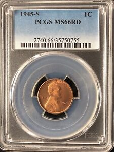 1945 S 1C RD LINCOLN WHEAT ONE CENT  PCGS MS66RD                   35750755